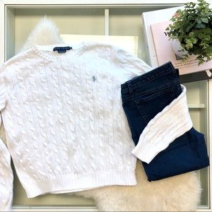 Ralph Lauren White Cable Knit Sweater